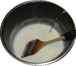 Heat the milk, sugar and powdered milk